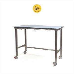 Table d'examen démontable avec HPL sur le plateau et les roues en stratifié compact
