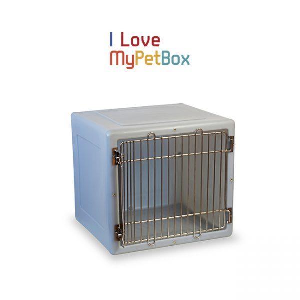 ILoveMyPetBox cage - gris clair avec porte médicale