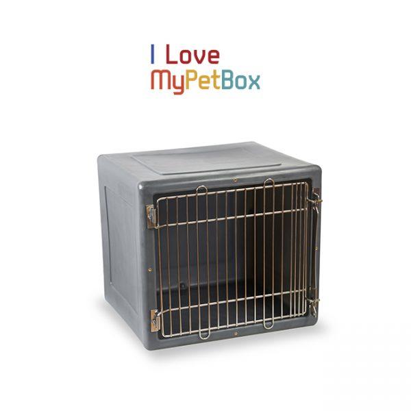 ILoveMyPetBox cage - gris foncé avec porte médicale